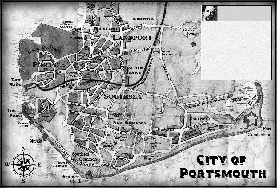 Map Of England Portsmouth.Dickens The Victorian City Portsmouth Map